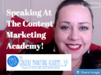 Speaking At The Content Marketing Academy in September. Come along!