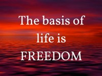 The basis of life is freedom